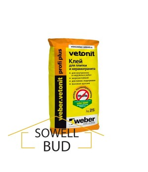 Клей для плитки и керамогранита Weber vetonit fix profi plus 25 кг